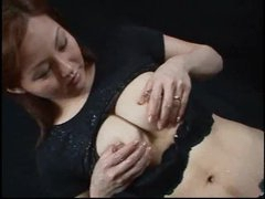 Asian honey with lactating tits squeezes and squirts